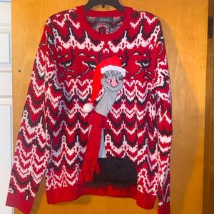 Sweaters - Ugly Christmas sweater ostrich Sz large